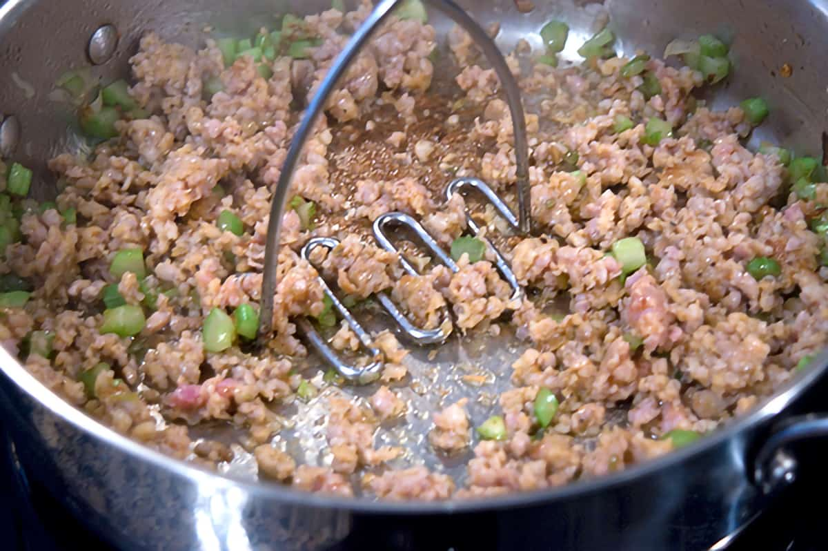 Italian sausage added to the skillet with shallot and celery.