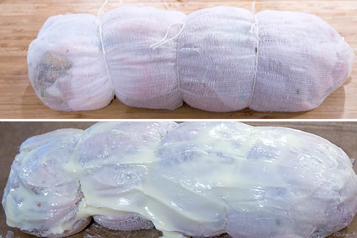 Photo collage showing the rolled, stuffed turkey breast covered with cheesecloth and coated with softened butter.