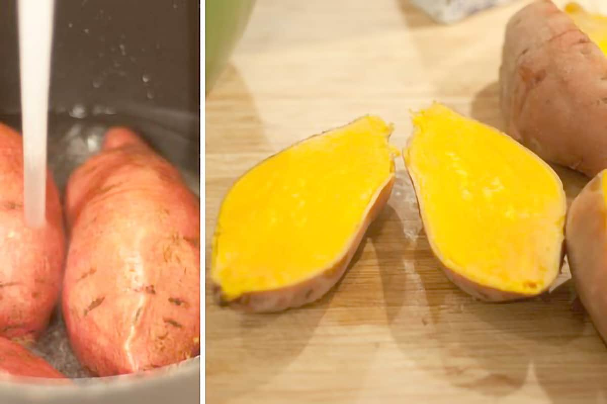 Photo collage showing sweet potatoes before and after cooking.
