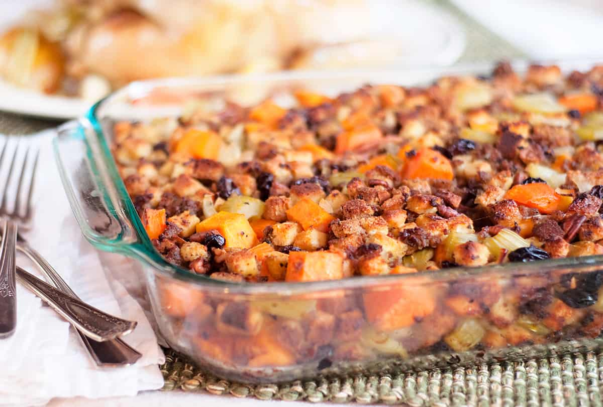 Sweet Potato and Pecan Stuffing in a baking dish.