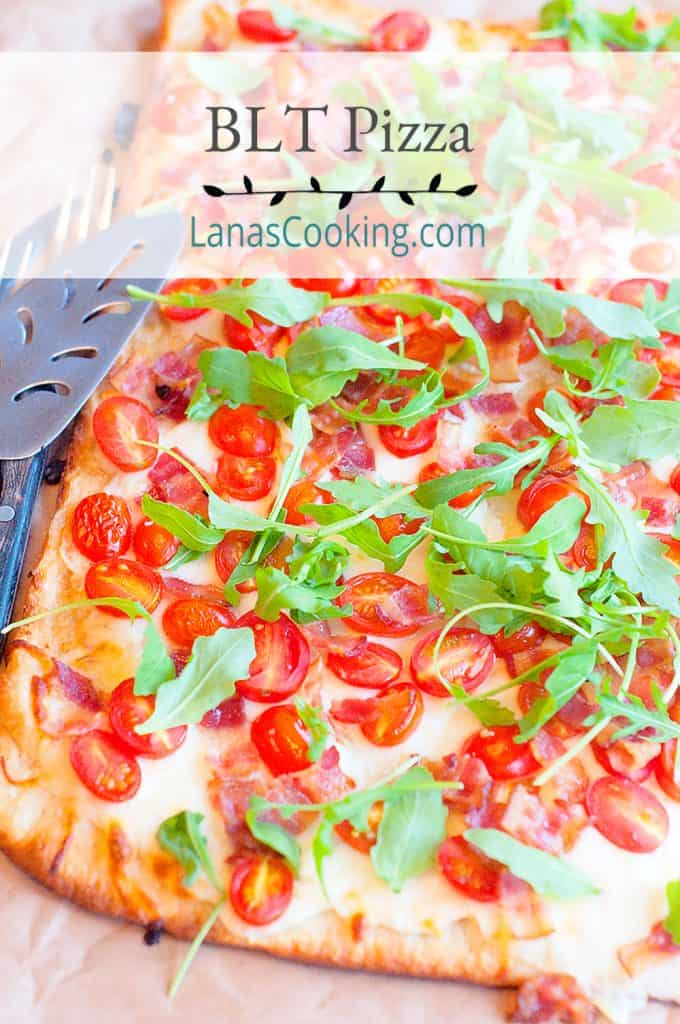 BLT Pizza on a serving tray. Text overlay for pinning.