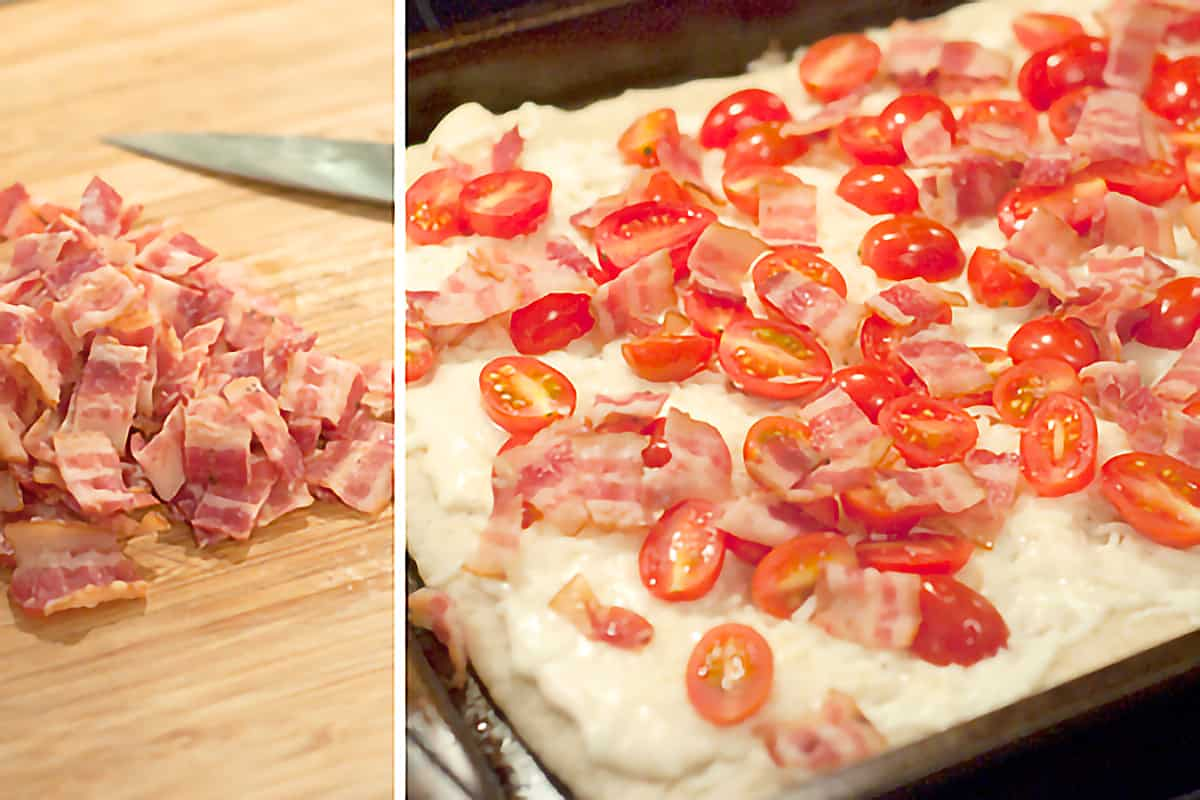 Photo collage showing diced pre-cooked bacon being added to the pizza.