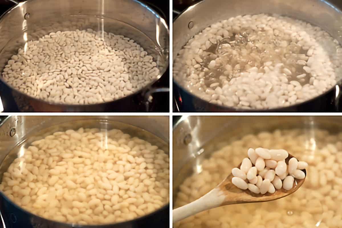 Photo collage showing the stages of soaking dried beans.