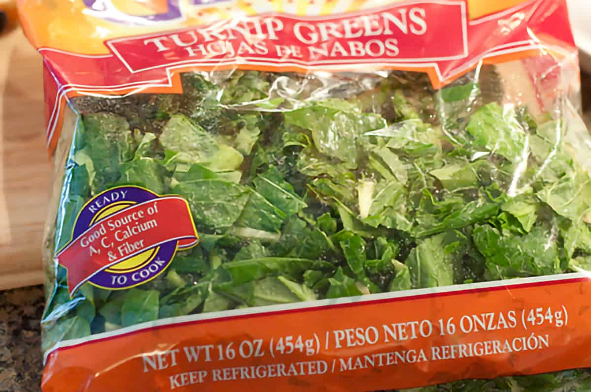16 ounce bag of pre-washed, cut turnip greens.