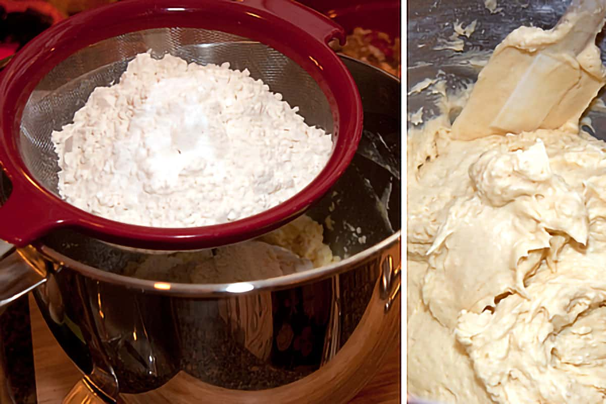 Flour in a sifter held over a mixing bowl.