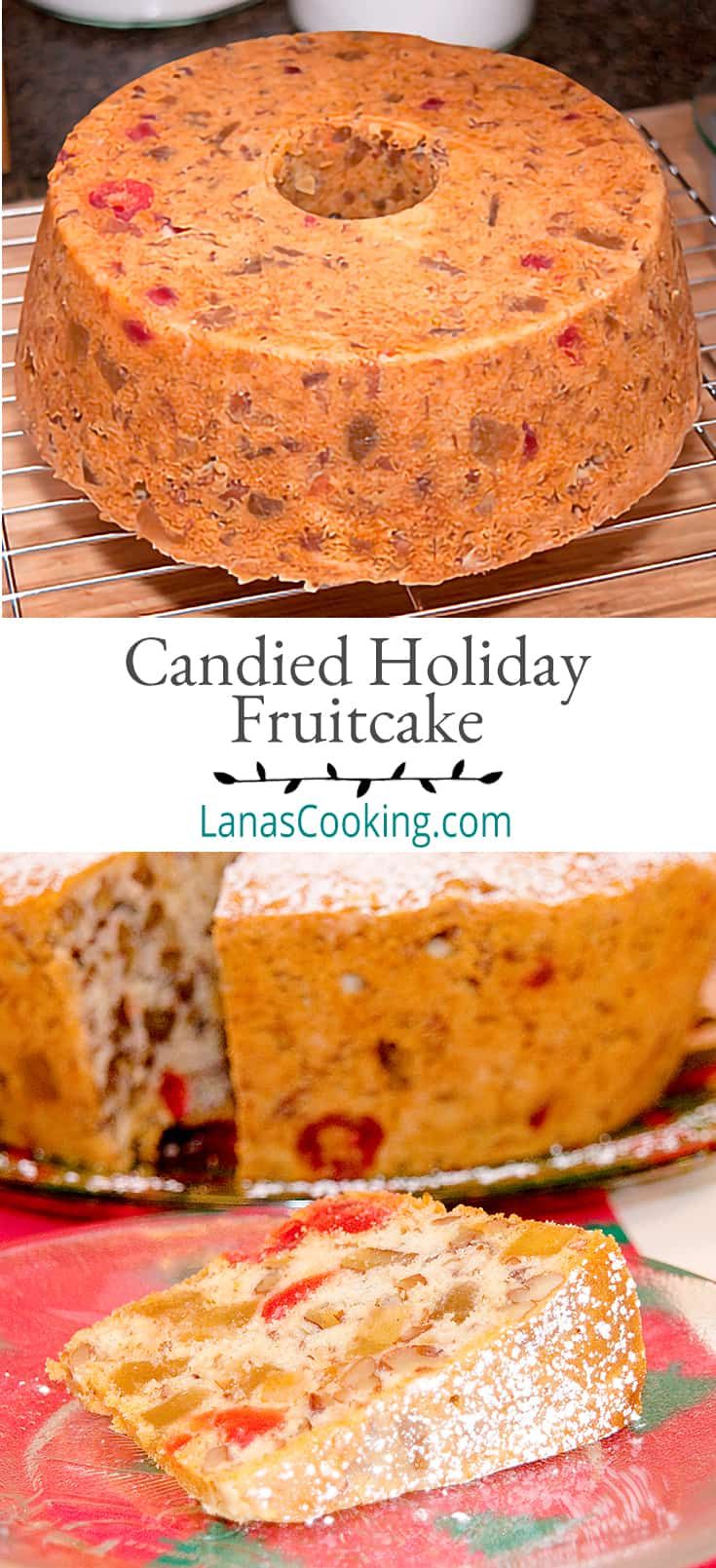 A slice of candied holiday fruitcake on a plate with remaining cake in background. Text overlay for pinning.