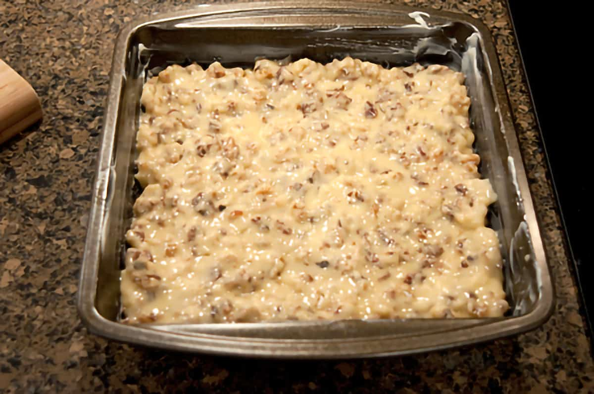 Mixture spread into an 8x8 square baking pan.