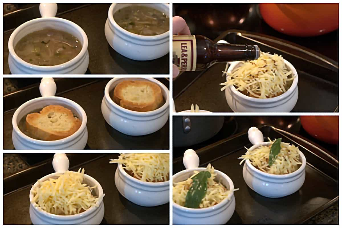 Photo collage showing the assembly of individual bowls of English Onion Soup.