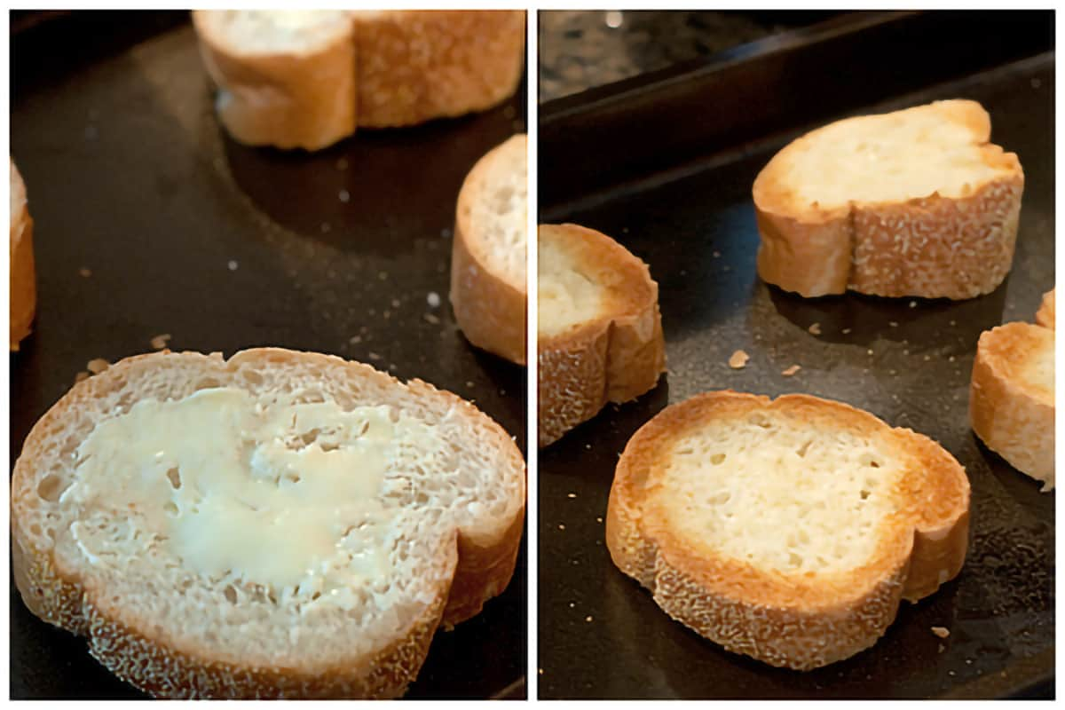 Photo collage showing bread being prepared for toasting.