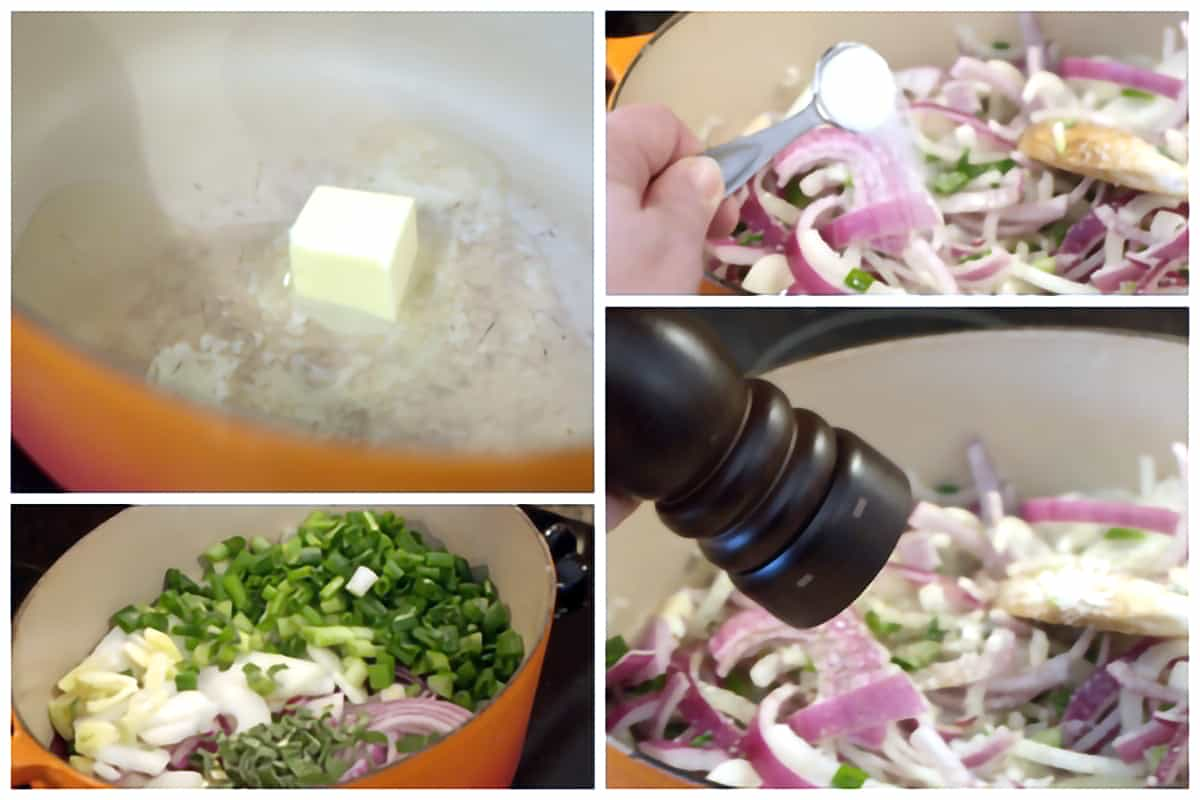 Photo collage showing the onions, butter, and olive oil added to a heavy pan for cooking.