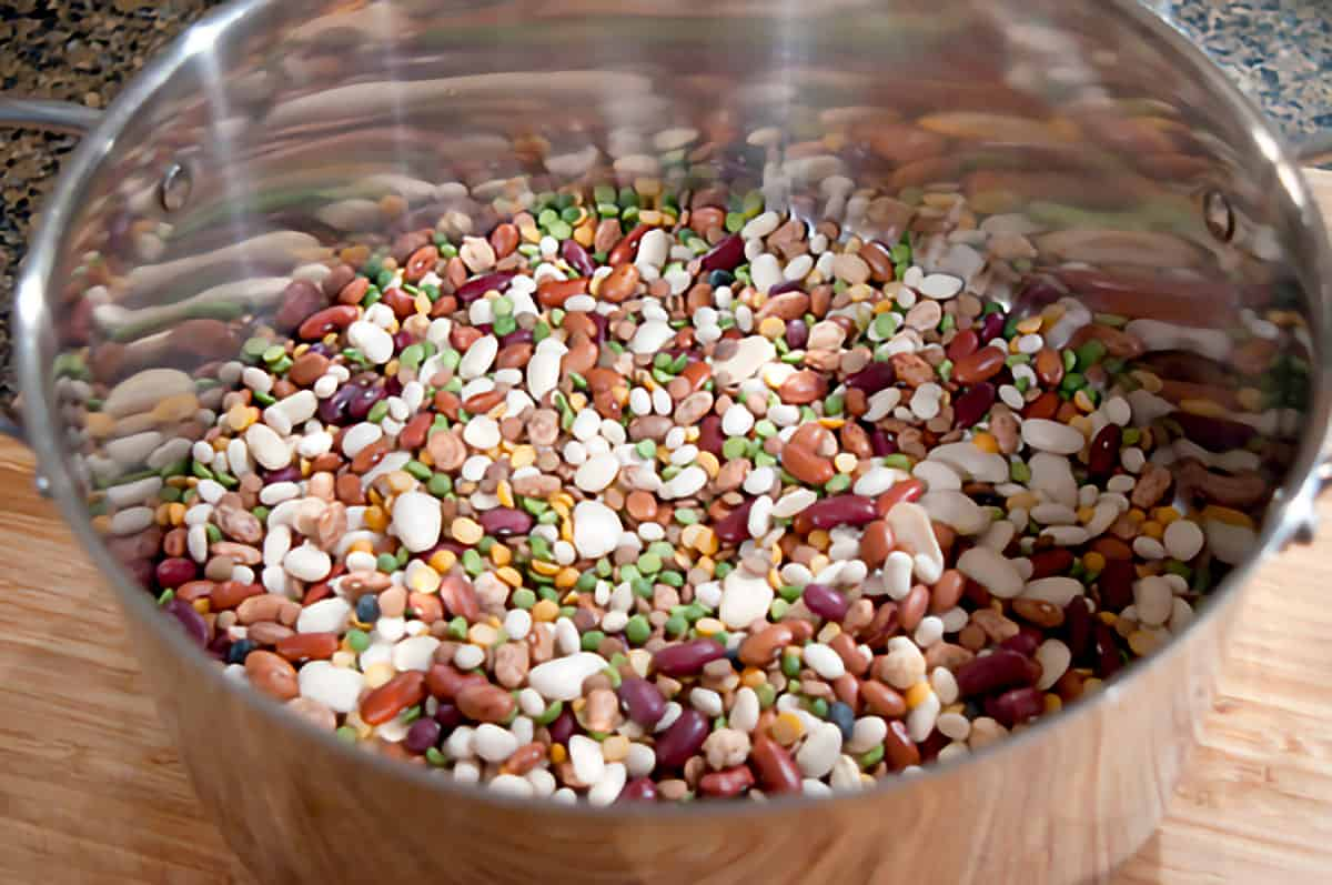 Dried bean mix in a large stockpot