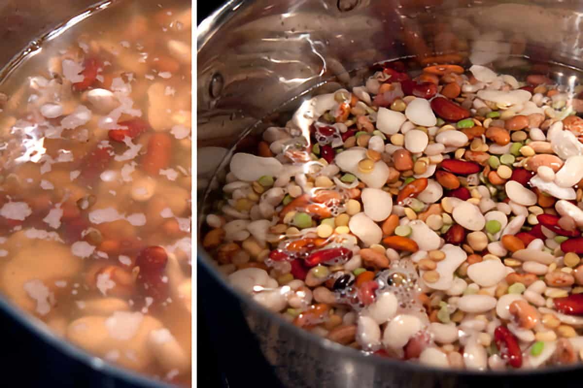 Soaked bean mix in a large stockpot.
