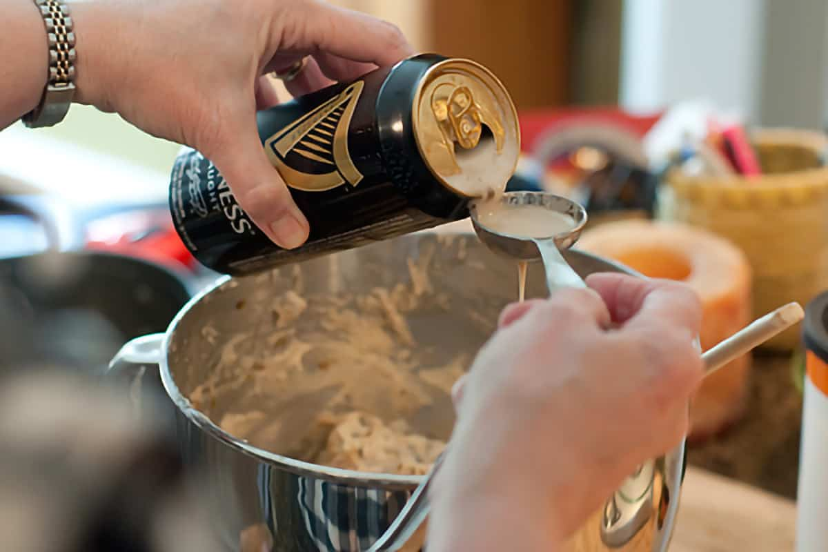 Measuring out Guinness to add to recipe