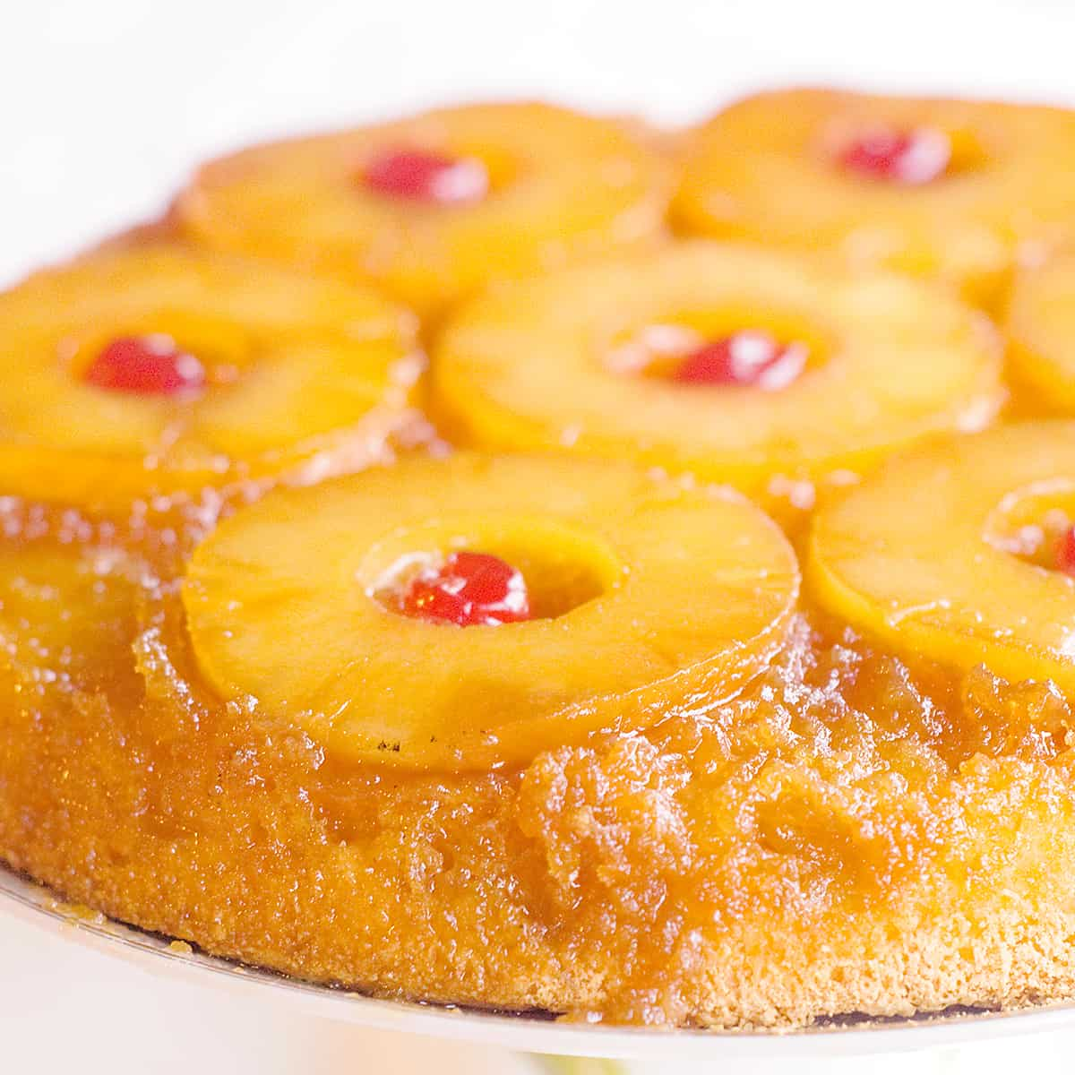 Skillet Pineapple Upside Down Cake on a serving plate.