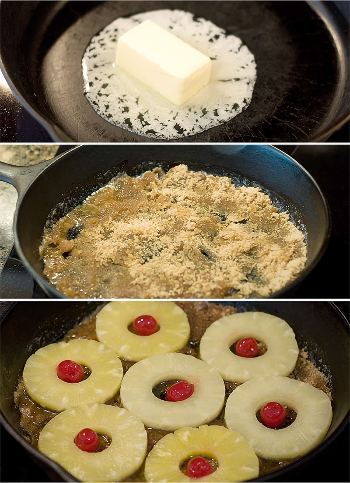 Photo collage showing the butter, brown sugar, pineapple and cherries being added to a cast iron skillet.