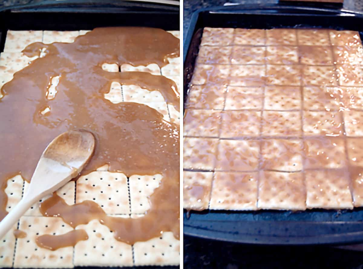 Photo collage showing the cooked butter and sugar mixture being poured over saltine crackers on a baking sheet.
