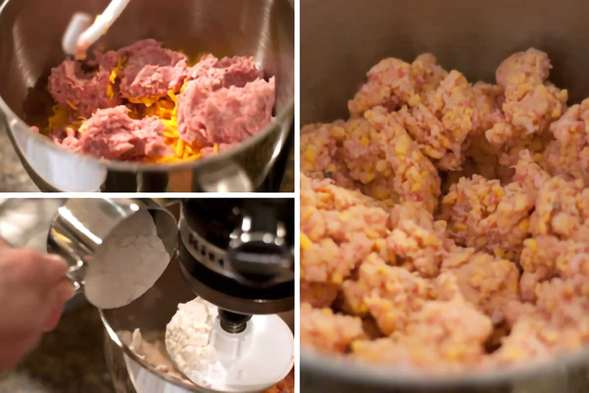 Photo collage showing ingredients for sausage balls being mixed in a stand mixer.