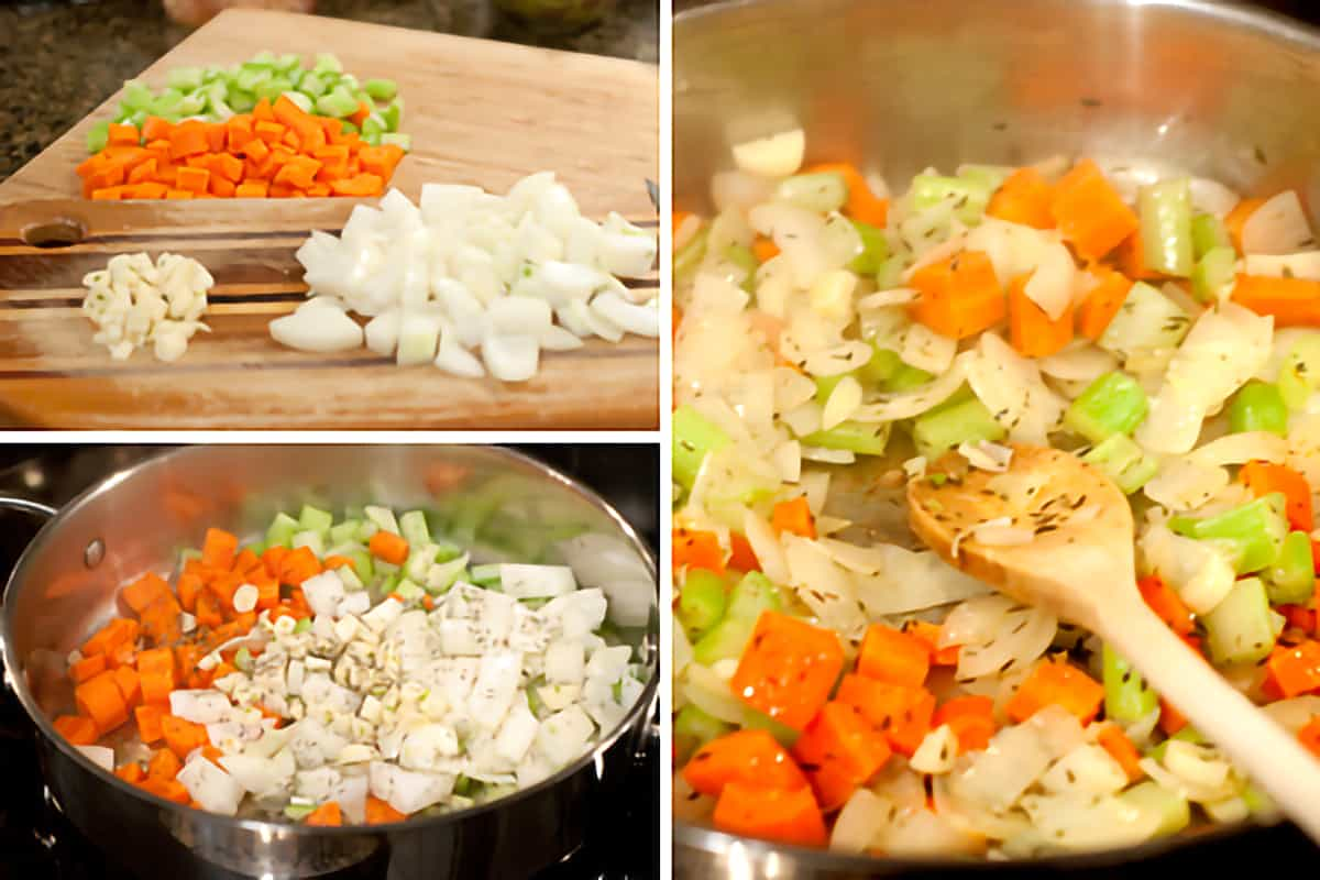 Photo collage showing vegetables being prepped and sauteed.