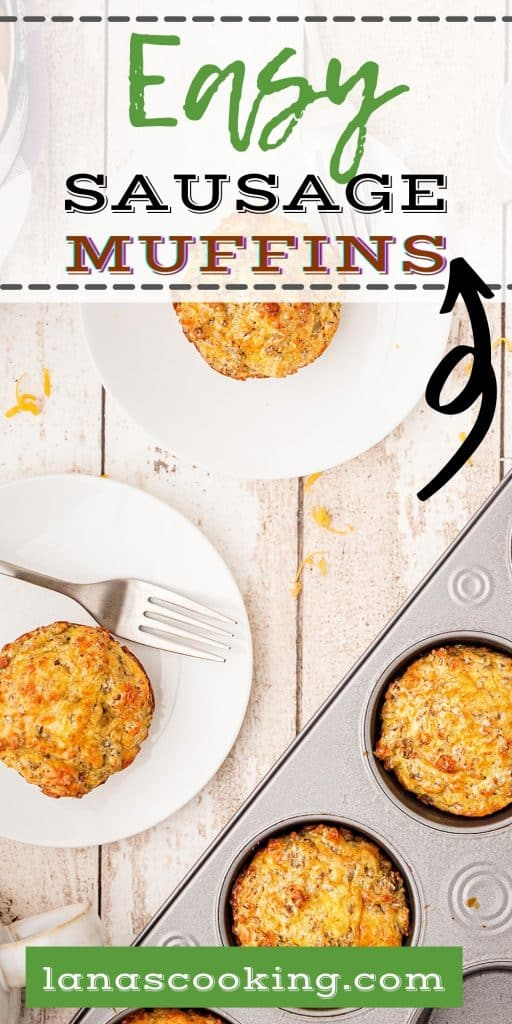 Servings of easy sausage muffins on white plates with a baking tray in the foreground.