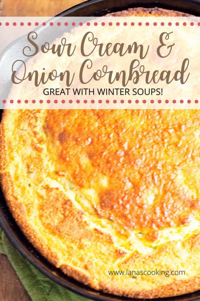 Finished cornbread in a cast iron skillet