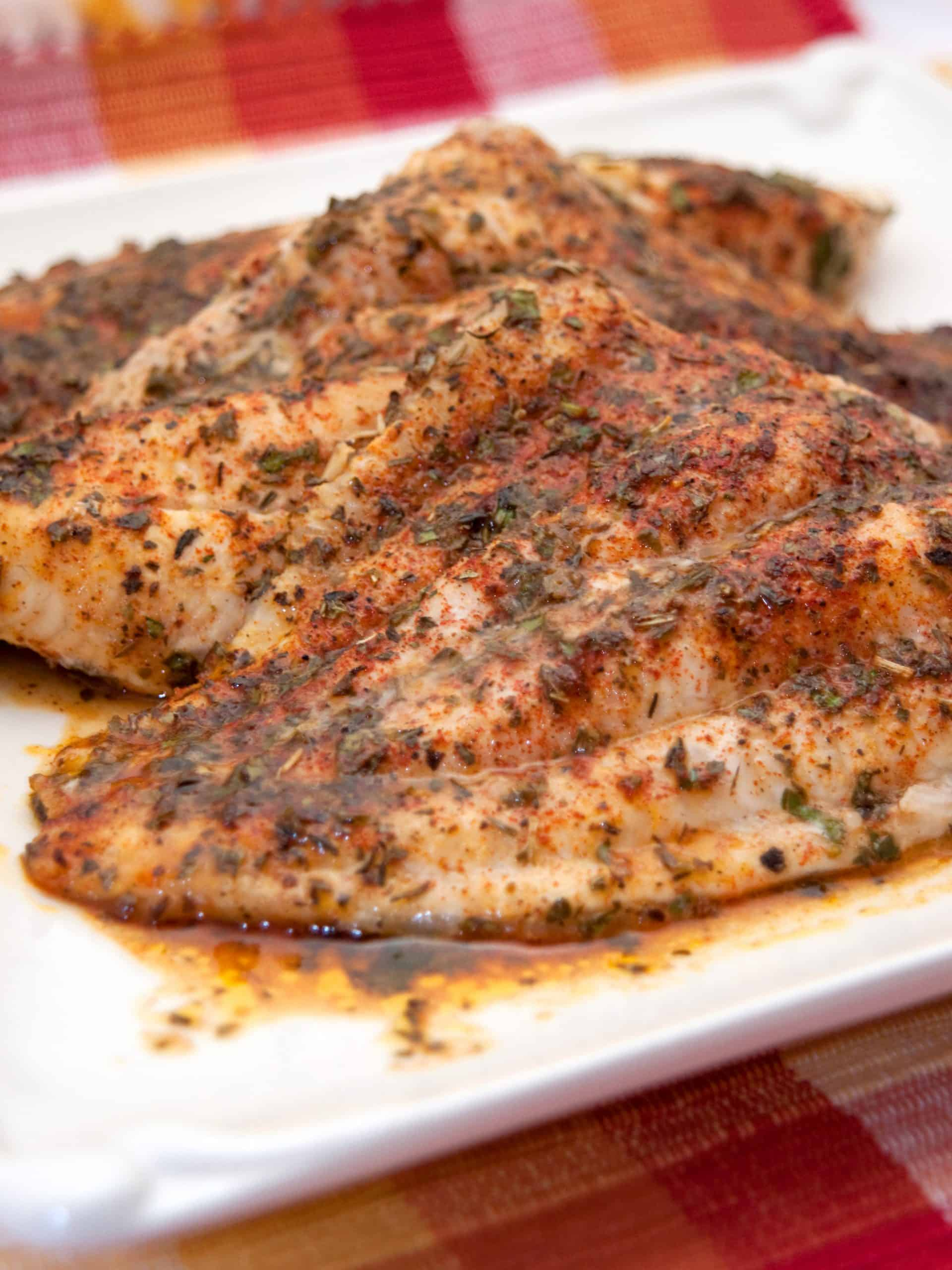 Baked Catfish with Herbs on a serving platter.