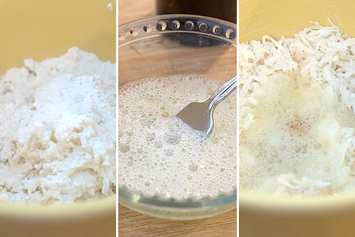 Photo collage showing (left) the mixing of coconut, sugar, flour, and salt, (center) beating egg whites, and (right) adding egg whites to combined ingredients.