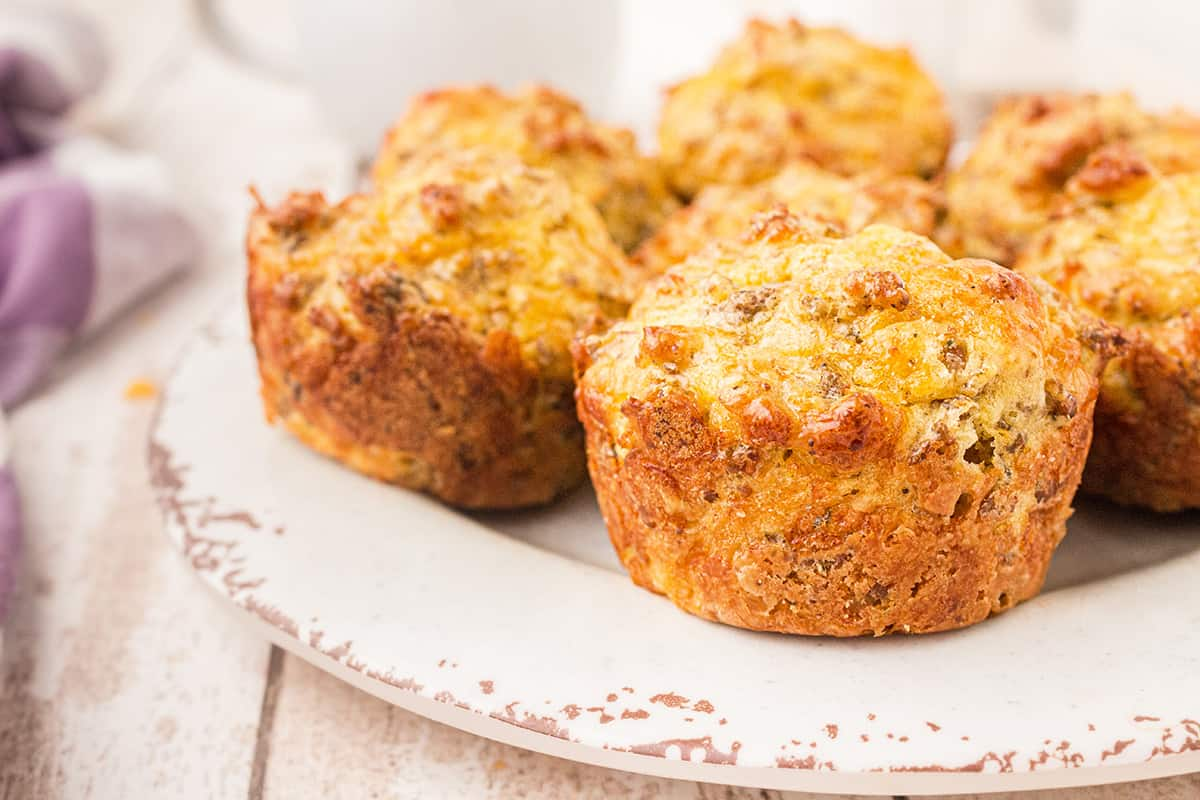 Easy Sausage Muffins on a white serving plate.