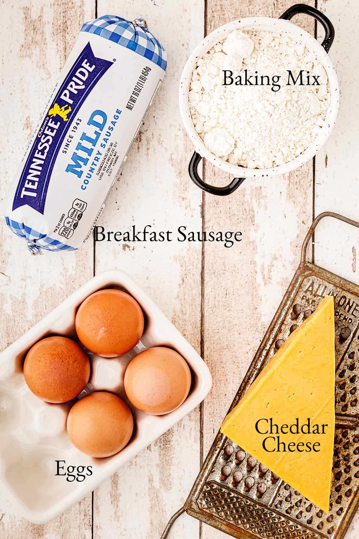 Ingredients needed for the recipe: breakfast sausage, baking mix, eggs, Cheddar cheese