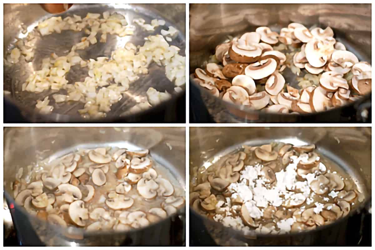 Photo collage showing cooking of the onions and mushrooms.