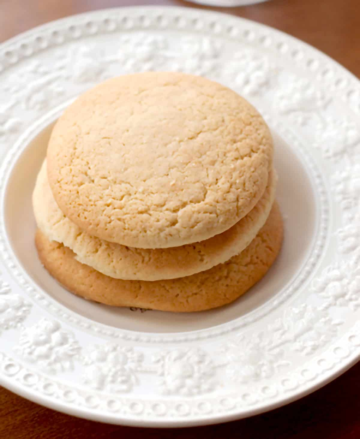 Old Fashioned Southern Teacakes on a white serving plate.