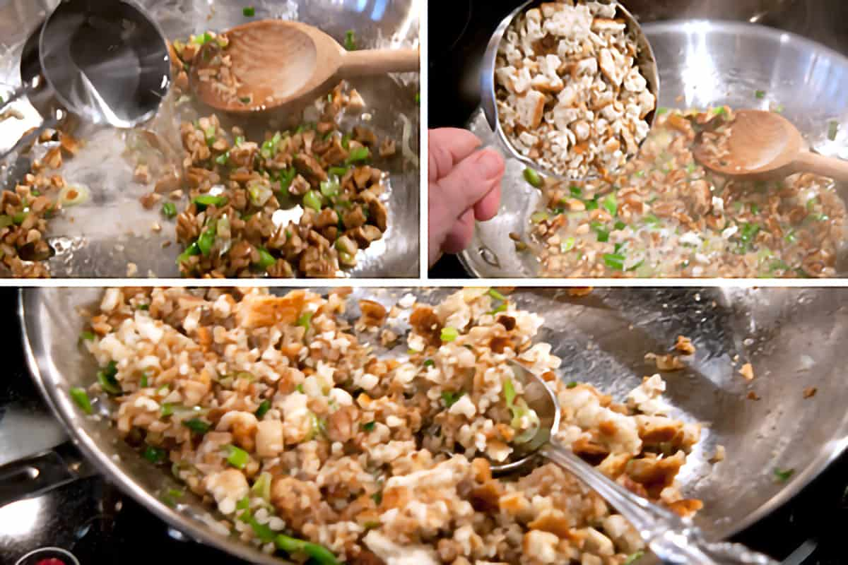 Photo collage showing remaining ingredients being added to skillet.