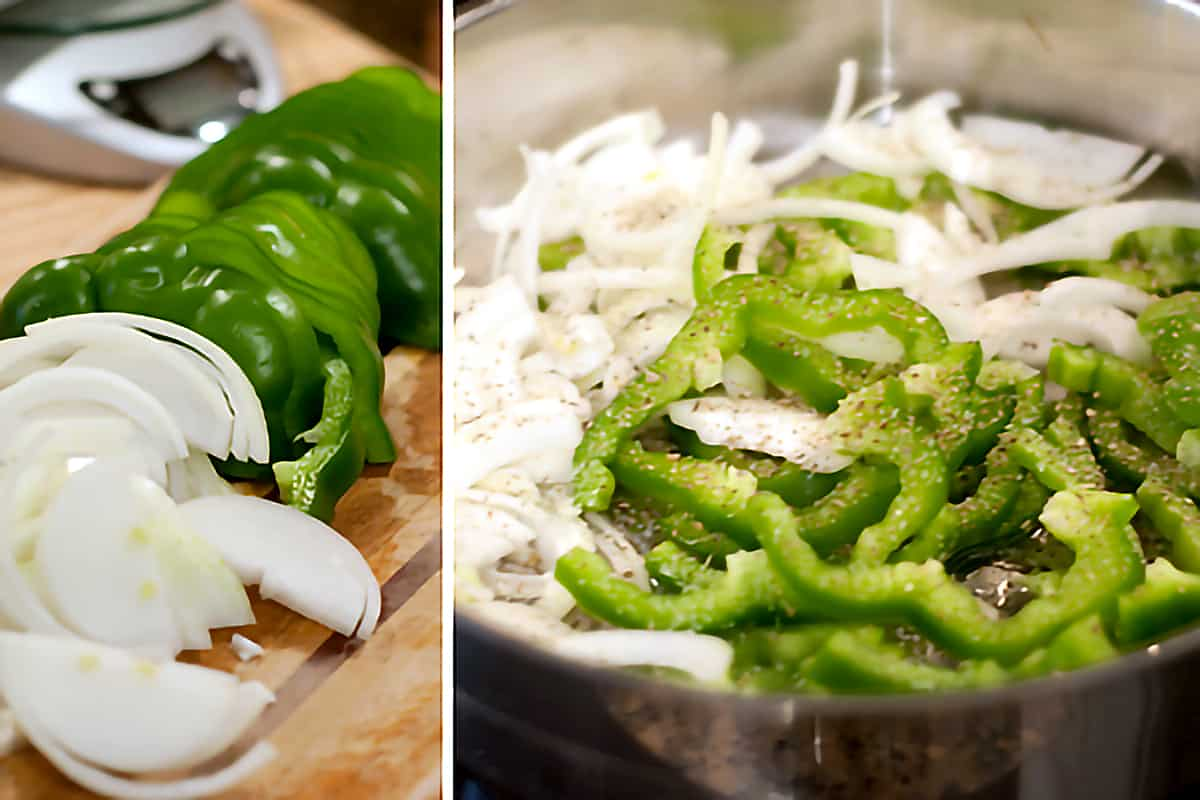 Photo collage showing the prep and cooking of the peppers and onions.