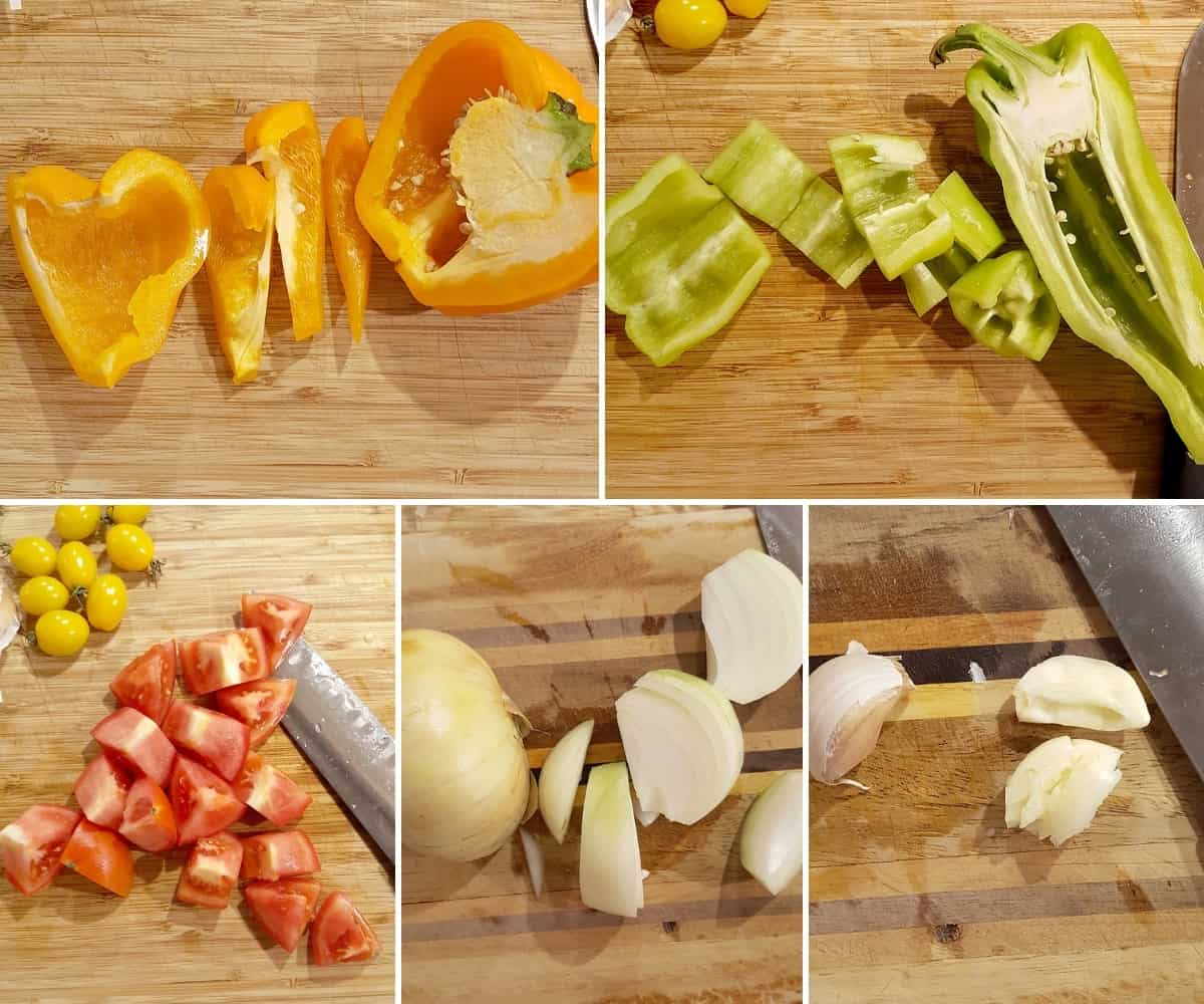 Photo collage of veggies being prepped for recipe.