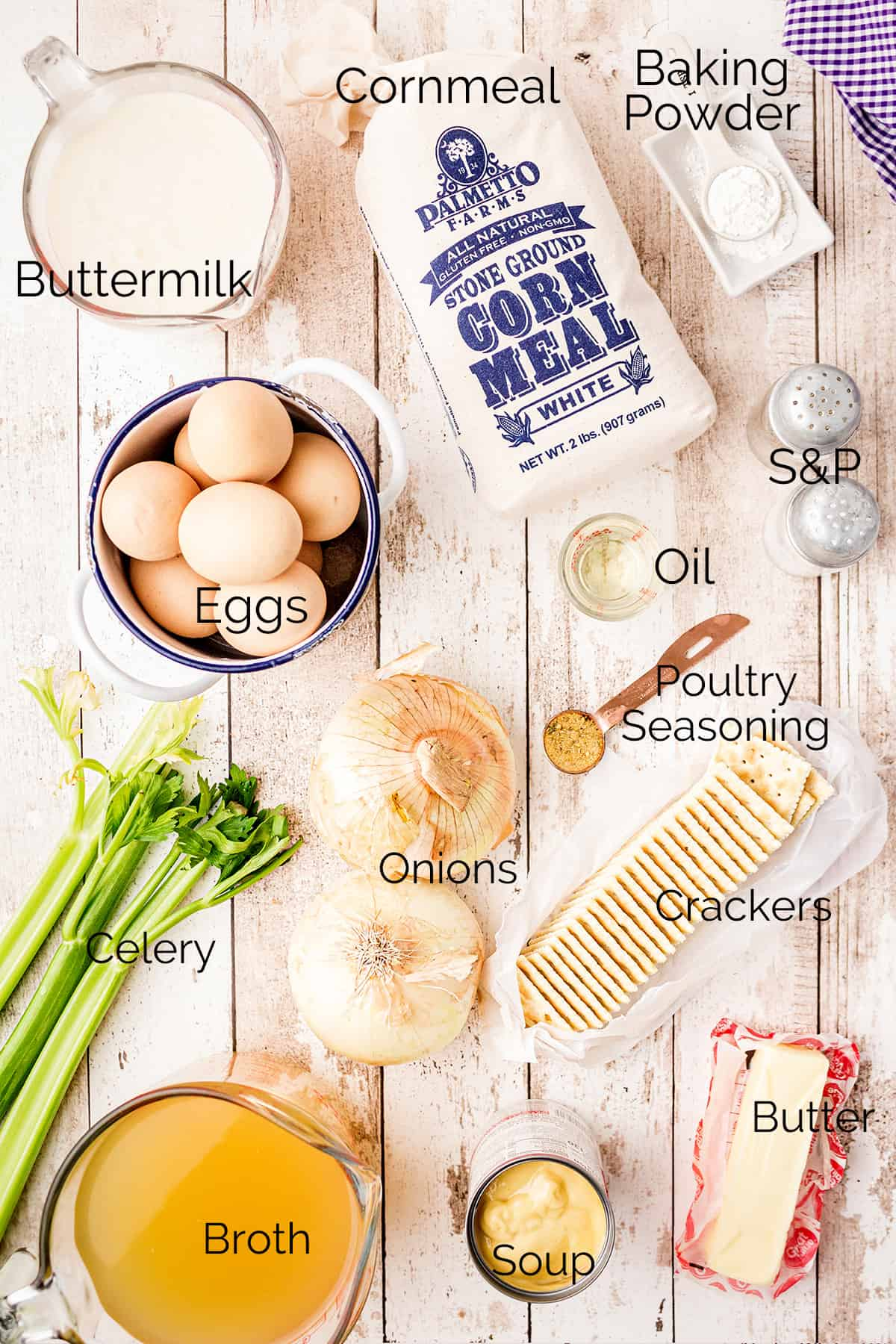 Ingredients needed to make southern cornbread dressing.
