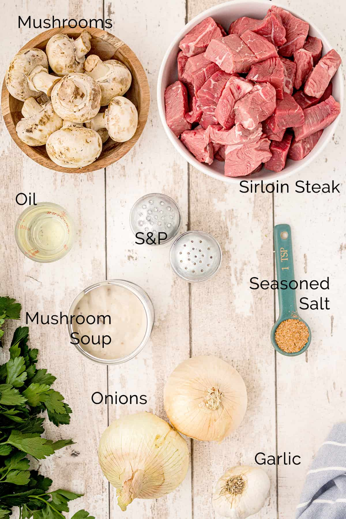 Photo of all ingredients needed to make Steak Tips with Creamy Mushroom Sauce