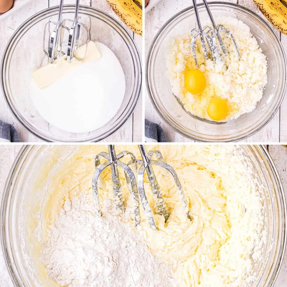 Photo collage demonstrating creaming butter and sugar, adding eggs, and adding flour.