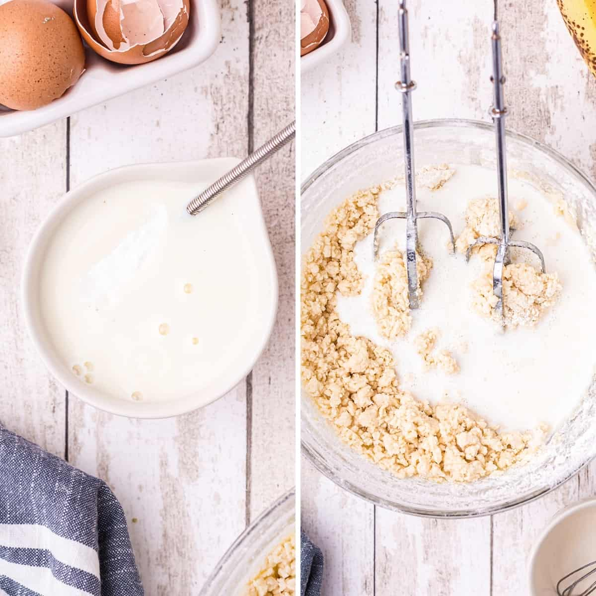 Photo collage showing adding baking soda to buttermilk (left) and combining the buttermilk with the flour, sugar, and eggs (right).