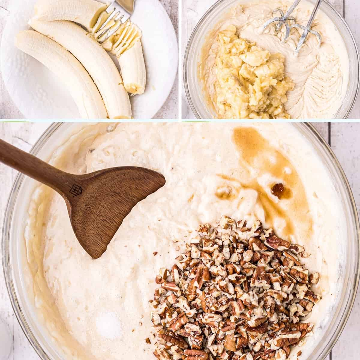 Photo collage showing (upper left) mashing bananas, (upper right) adding mashed bananas to batter, and (lower) stirring pecans, salt, and vanilla into the batter.