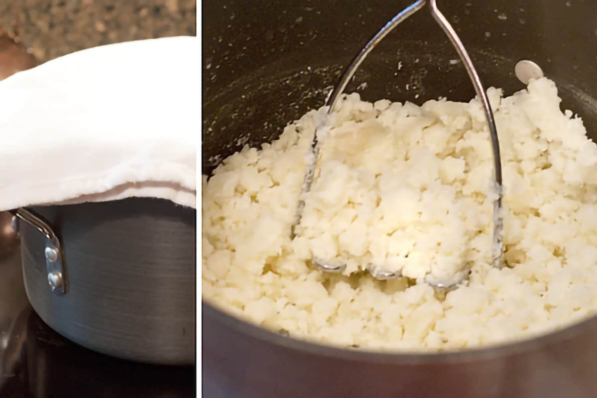 Photo collage showing potatoes steaming (left) and being mashed (right).