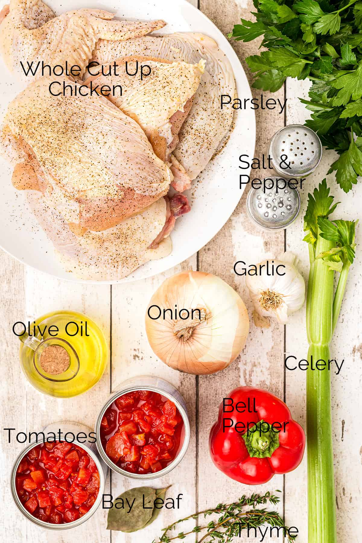 All the ingredients needed to prepare Chicken Cacciatore