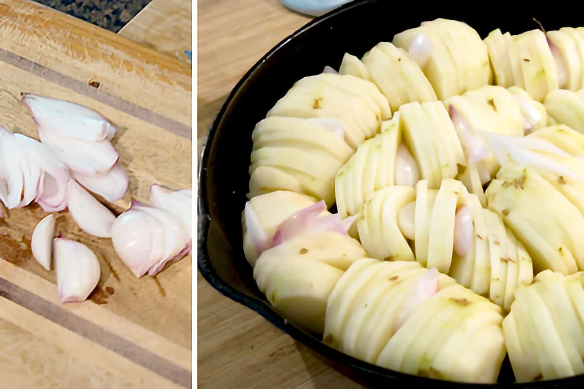 Peeled and sliced shallots with prepared potatoes in a cast iron skillet.