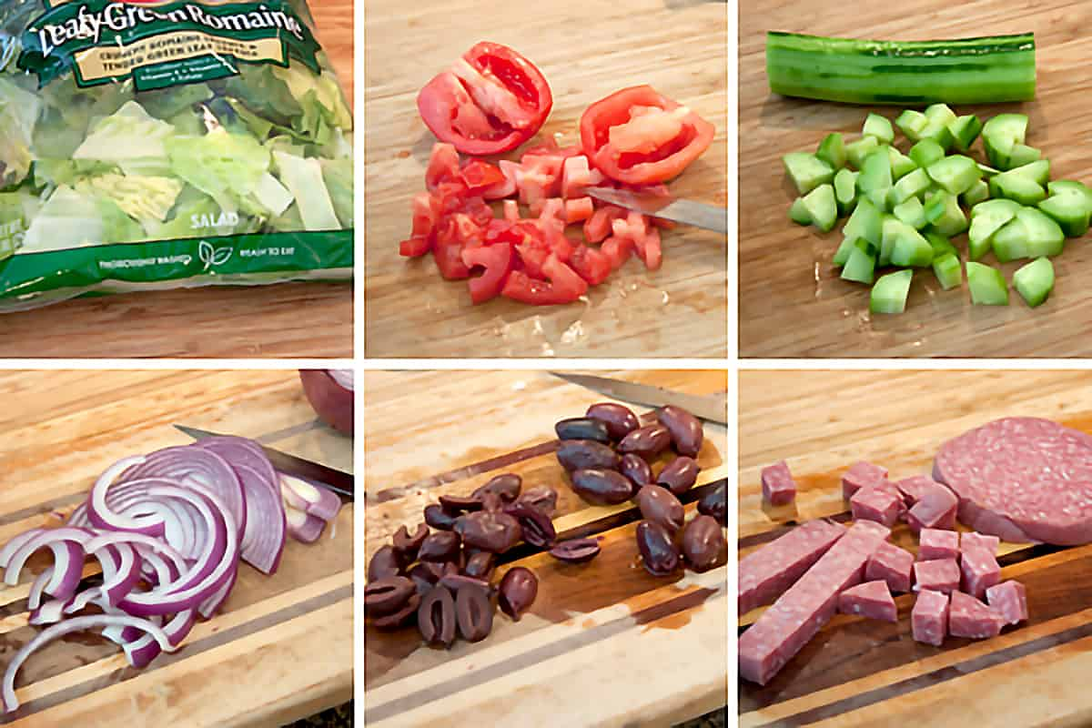 Photo collage showing the veggies and salami being prepped for the salad