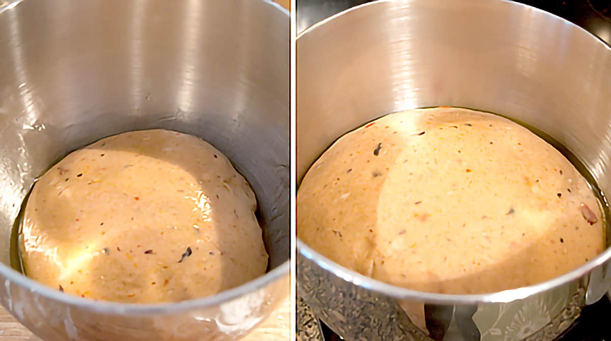 Photo collage showing dough in a mixing bowl at the beginning and end of its rising time.