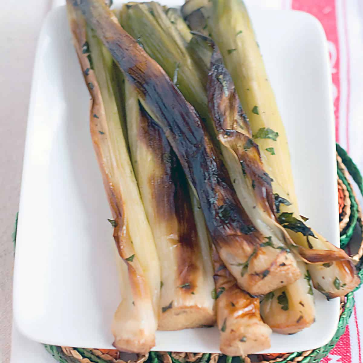 Roasted leeks on a white serving plate.