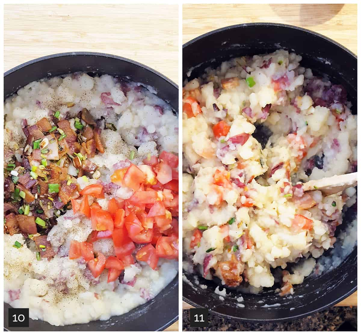 Left: bacon, onions, and tomatoes added to mashed potatoes; Right: bacon and tomatoes folded into mashed potatoes.