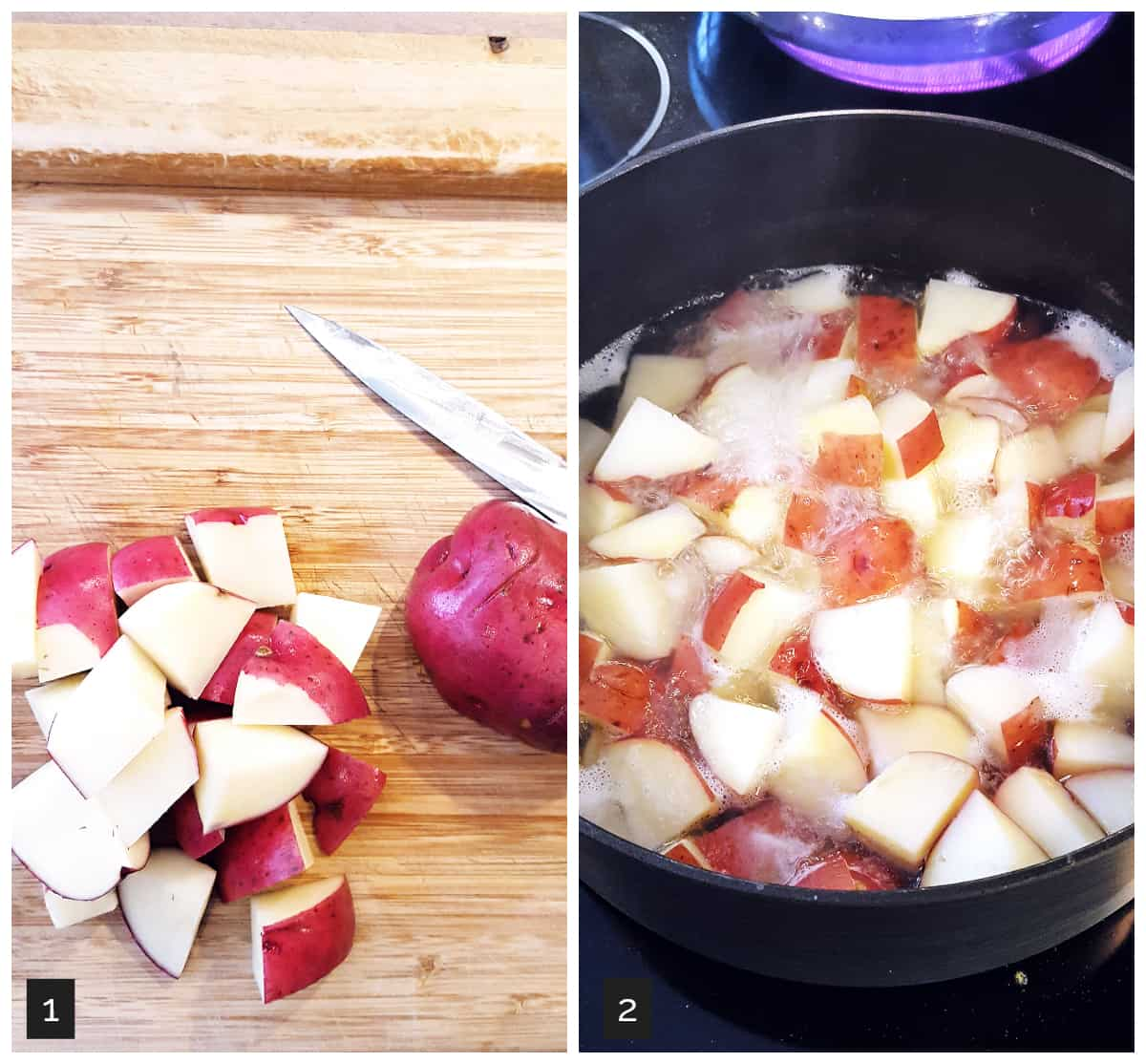 Left: diced potatoes on a cutting board; Right: potatoes boiling in a pot.