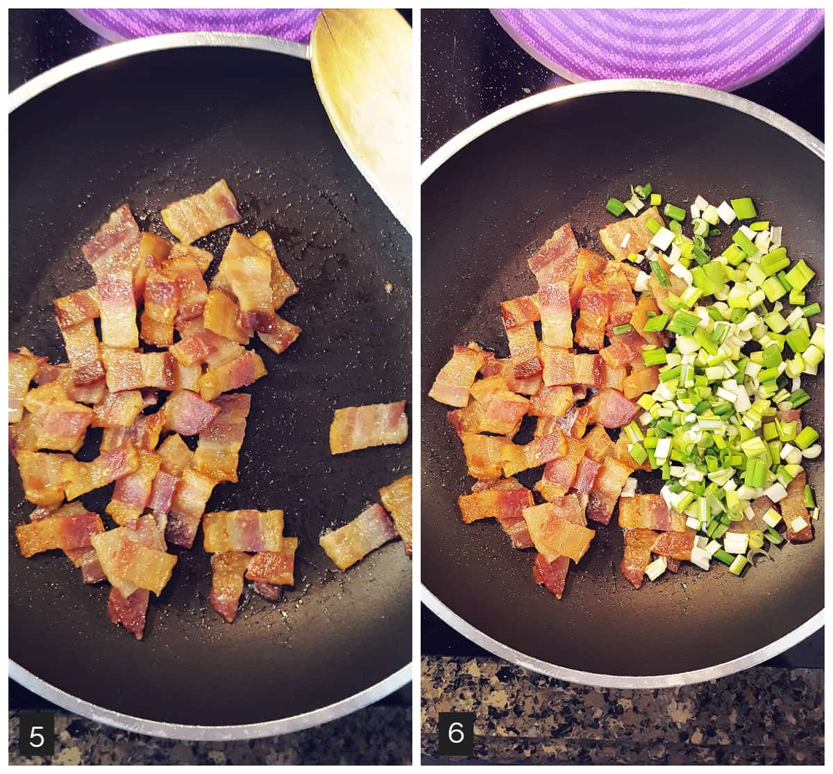 Left: bacon in a skillet; Right: bacon and green onions in a skillet.