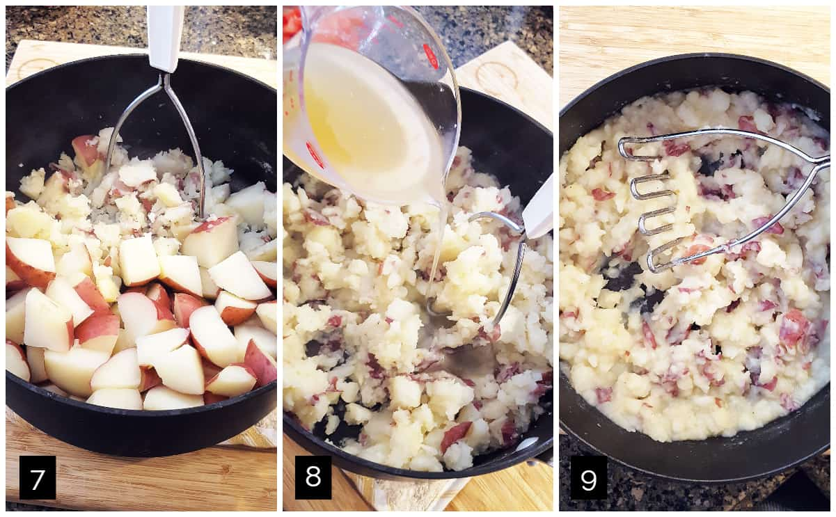 Left: potatoes partly mashed in a pot; Center: adding chicken stock to partly mashed potatoes; Right: completely mashed potatoes.