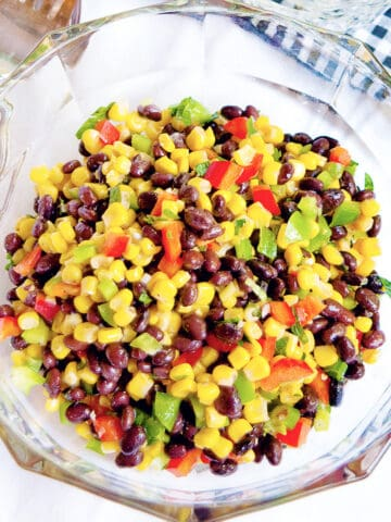 Black Bean and Corn Salad in a glass serving bowl.