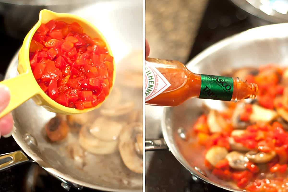 Adding drained pimientos and Tabasco sauce to pan.